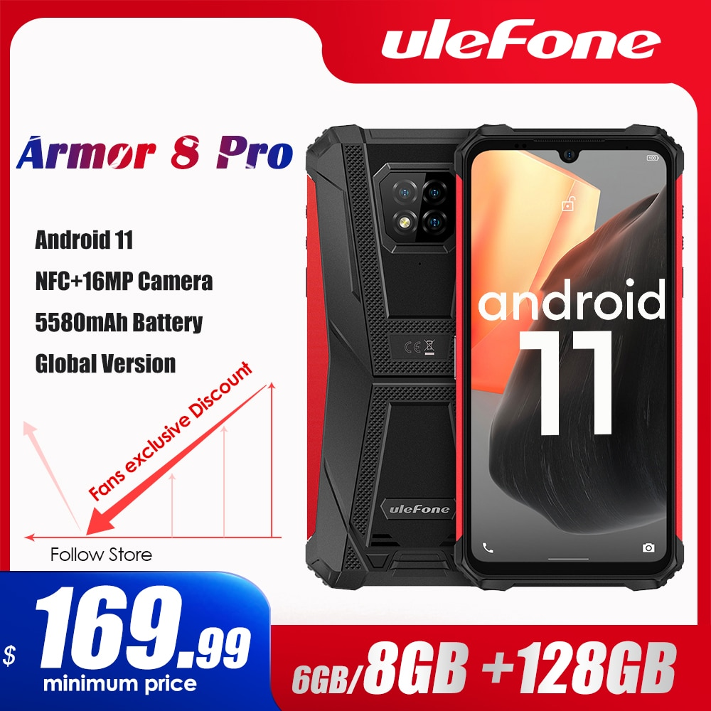 Ulefone Armor 8 Pro Android 11 Rugged Smartphone 6GB+128GB NFC/IP68/ Smartphone 5580mAh  Waterproof