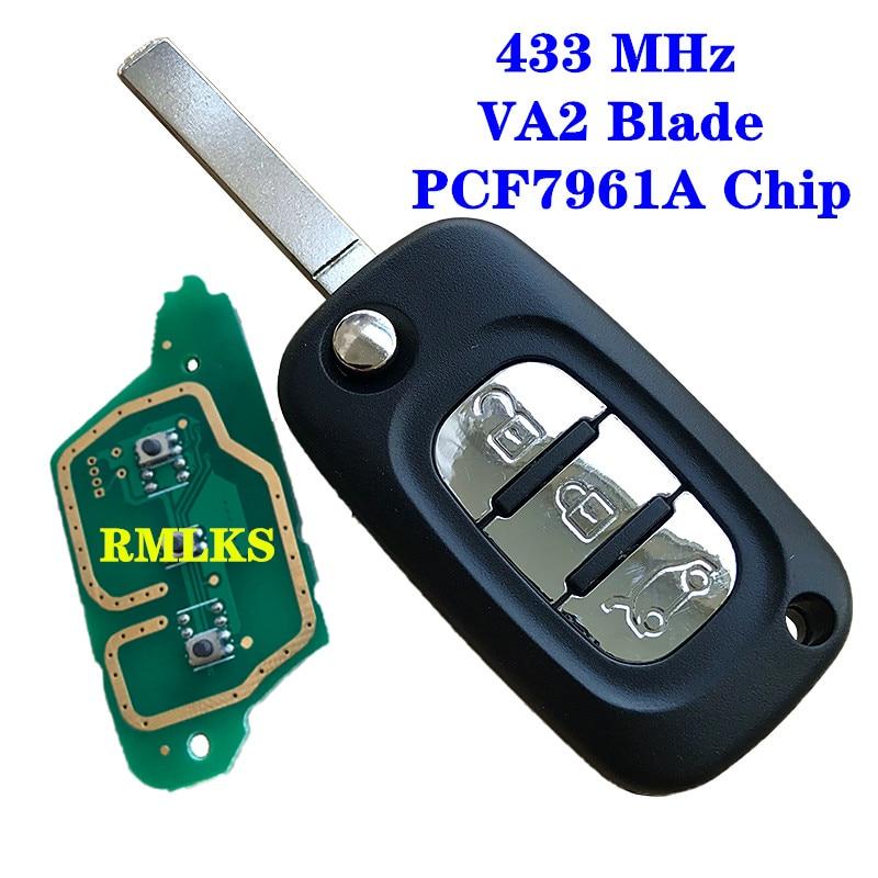 3 botões flip remoto chave 433mhz pcf7961a id46 chip para renault clio iii clio 3 kangoo mestre modus twingo 2006-2016 7701210033