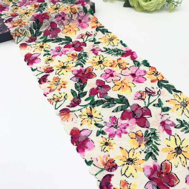 3y/lot Width 7 5/8 inch (19.50cm) Printed Spring Stretch Lace Trim For Sewing Craft DIY Apparel Fabric Lace Garment Accessory