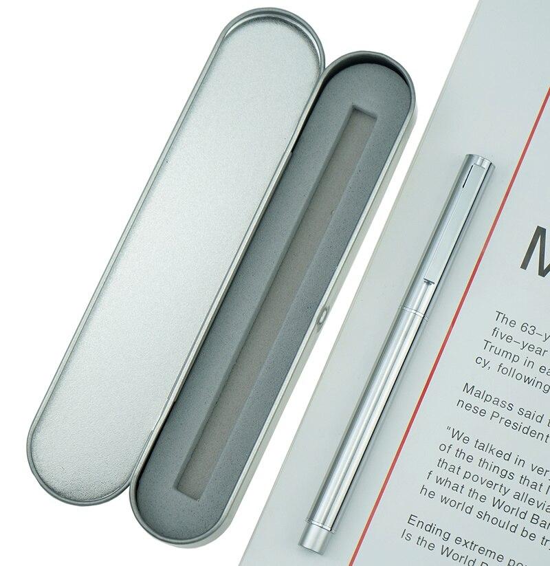HongDian pluma estilográfica de acero inoxidable, Metal, Punta fina, 0,4mm, escritura excelente en plata mate, bolígrafo de tinta de regalo para negocios, oficina y hogar