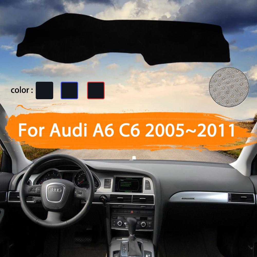 Car Dashboard Carpet Cover For Audi A6 C6 2005~2011 4F Dash Mat Cape Anti-dirty Sun Shade Dashmat Automotive interior Rug 2006
