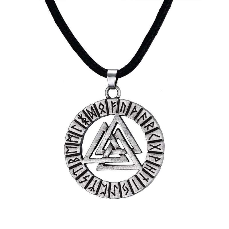 Vintage círculo viking símbolo colares aço inoxidável triângulo nórdico hrunger odins valknut pingentes jóias