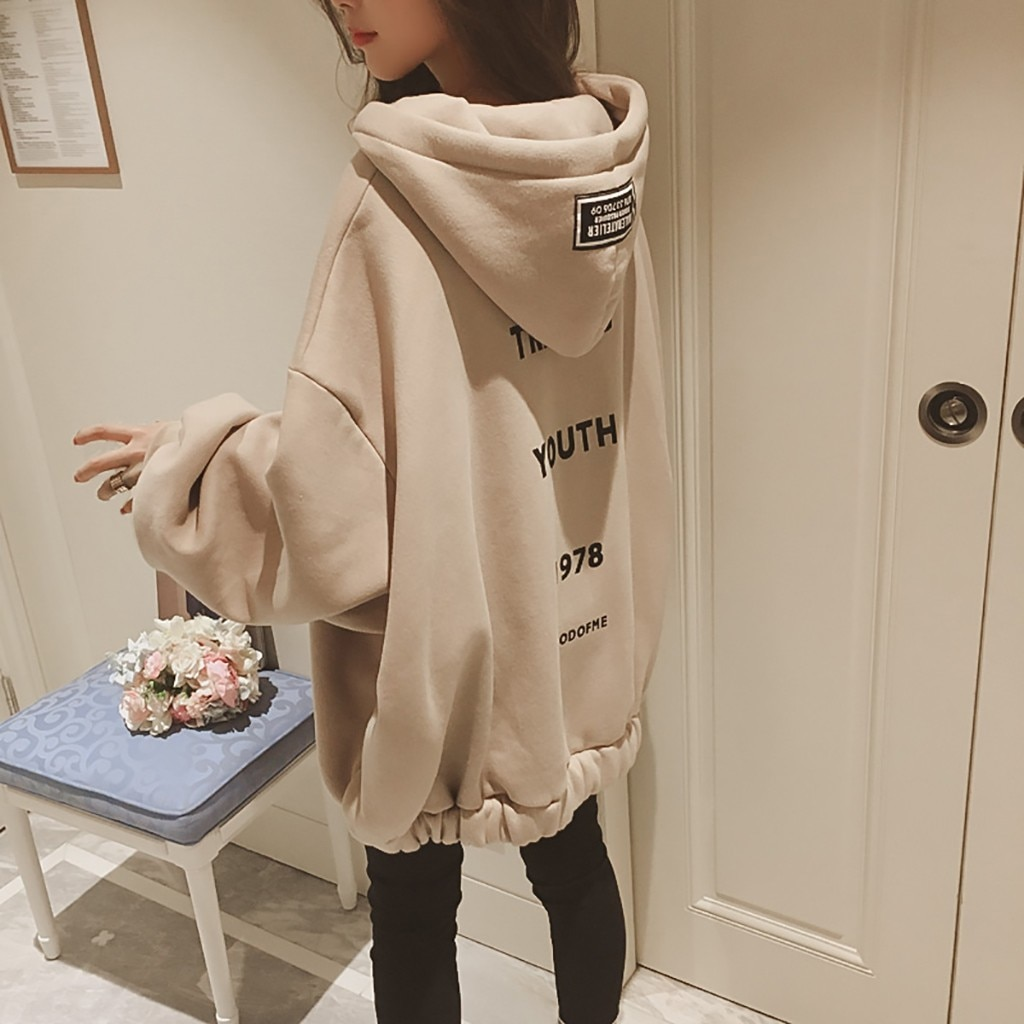 Moda sudaderas holgadas para mujer sudadera con capucha de manga larga con cremallera engrosamiento sudadera con capucha de la juventud 1978 sudadera mujer F1017