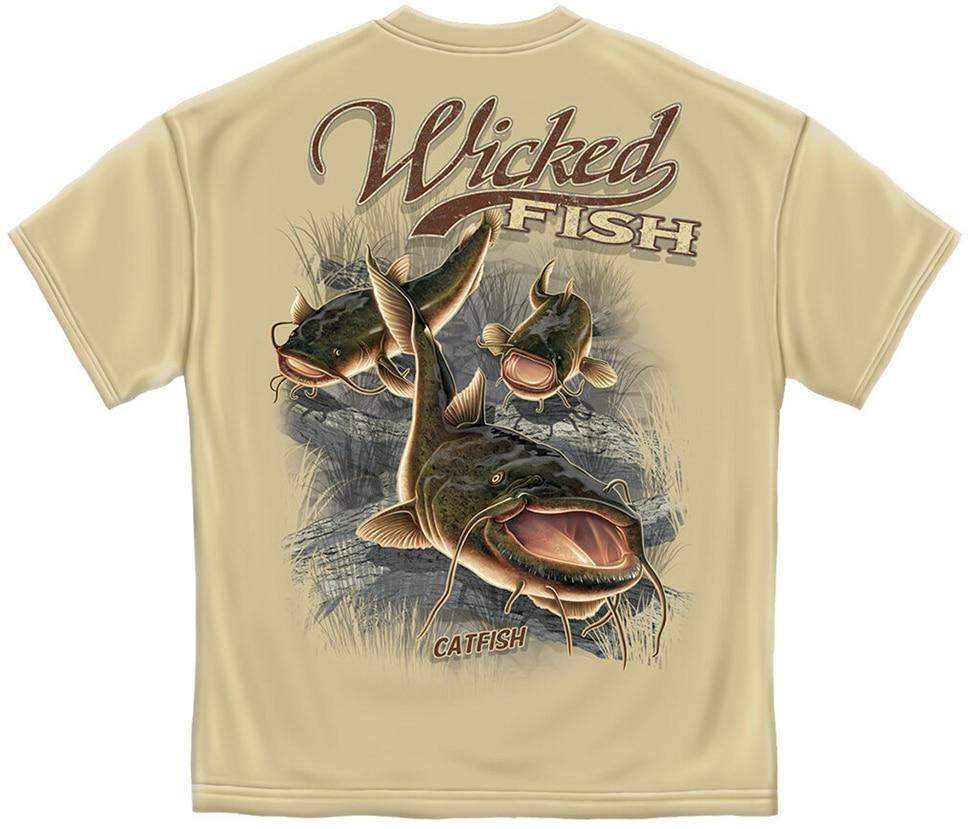 Camiseta de pesca de pez gato para hombres, camiseta de pesca de bagre malvada, S-3Xl 3Xl, ropa camiseta de marca