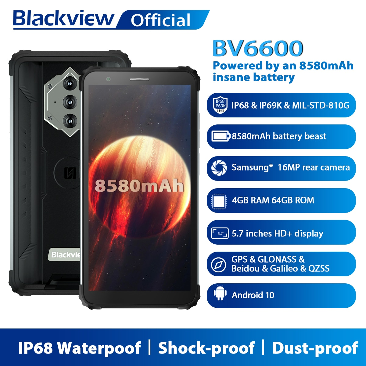 """Blackview BV6600 IP68 Waterproof 8580mAh Rugged Smartphone Octa Core 4GB+64GB 5.7"""" FHD Mobile Phone 16MP Camera NFC Android 10"""