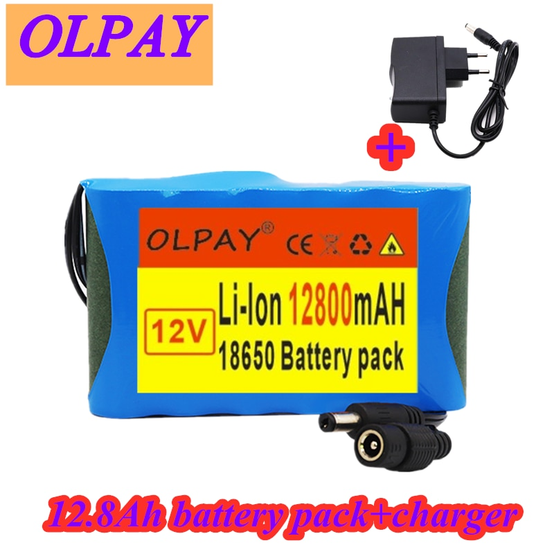 Original Portable Super 12V 12800mah battery Rechargeable Lithium Ion battery pack capacity DC 12.6v 12.8Ah CCTV Cam Monitor
