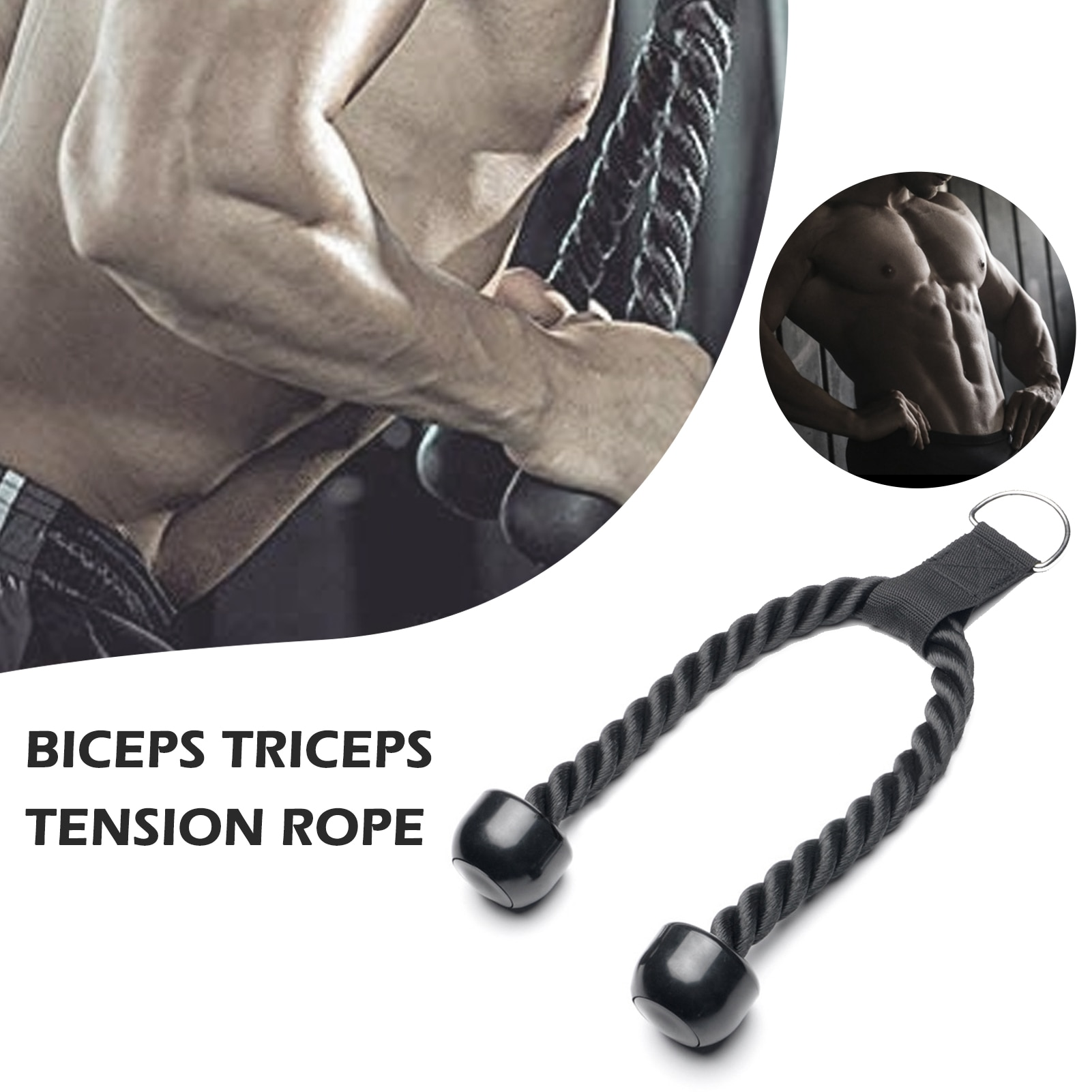 triceps training device push pull down rope muscle pull exercise workout equipment training bodybuilding fitness rope a2l5 Unisex heavy duty Tricep rope pull down biceps triceps back shoulder abdominal muscles muscle training rope
