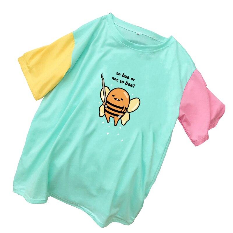 Camisetas de verano para mujer, camisetas de manga corta Harajuku Kawaii de dibujos animados Gudetama yema de huevo perezosa a la abeja o no a la impresión de abeja, ropa de colores