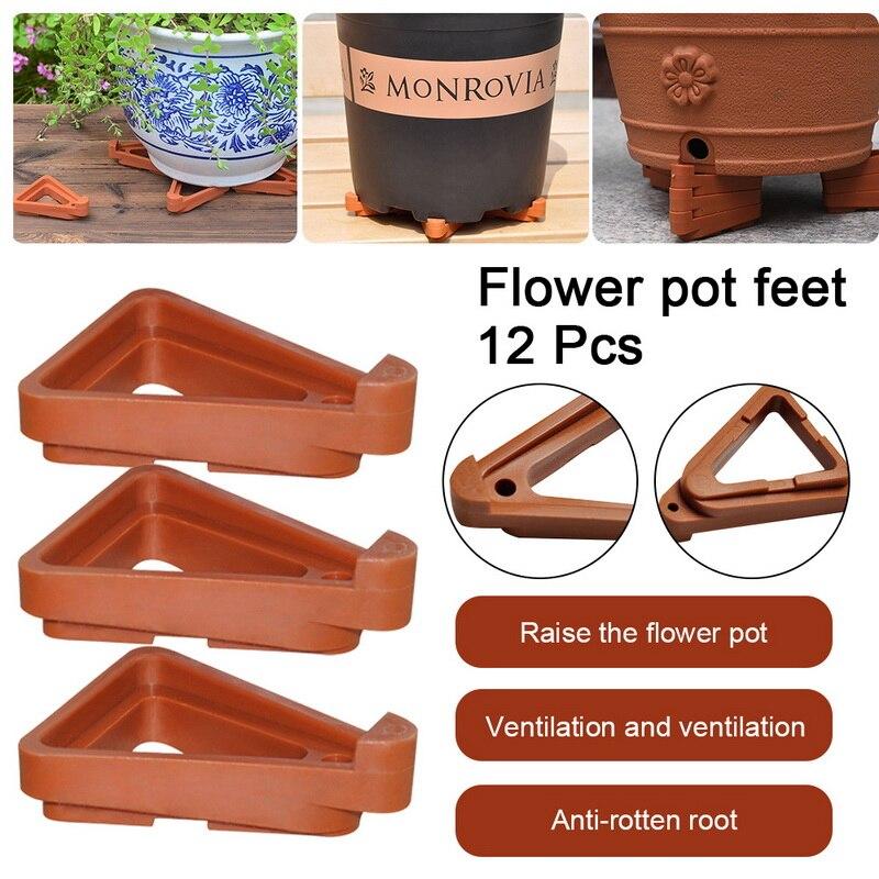 Pot de plantes pieds support jardin Pots de fleurs Triangle Invisible Risers orteils Lifters bonsaï affichage Supports 12 pièces