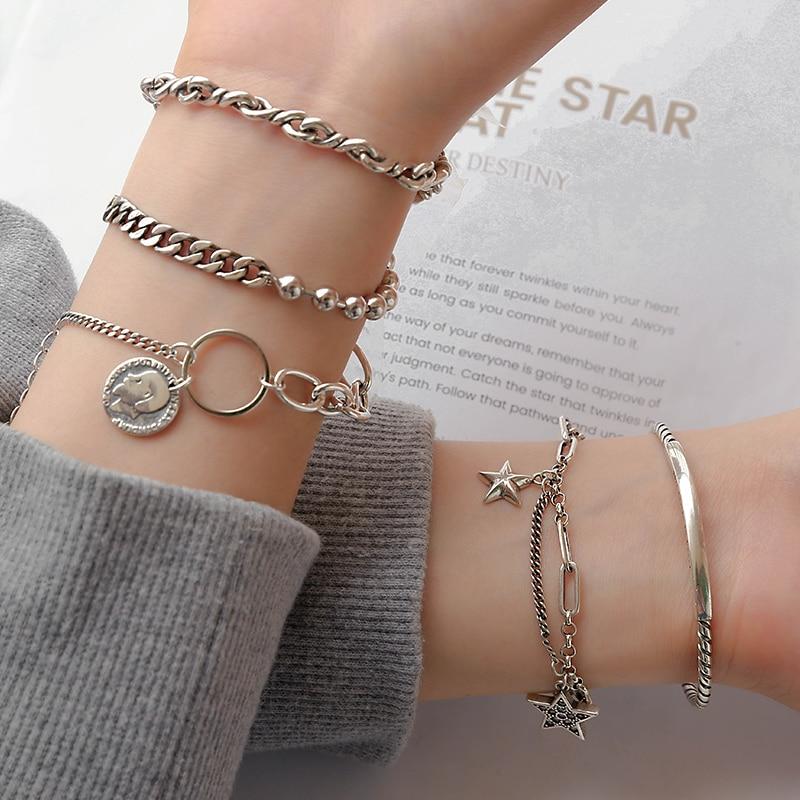 XINGX Vintage Bracelet Ins Special-Interest Design Girlfriends' Bracelet Women's Sterling Silver Stu