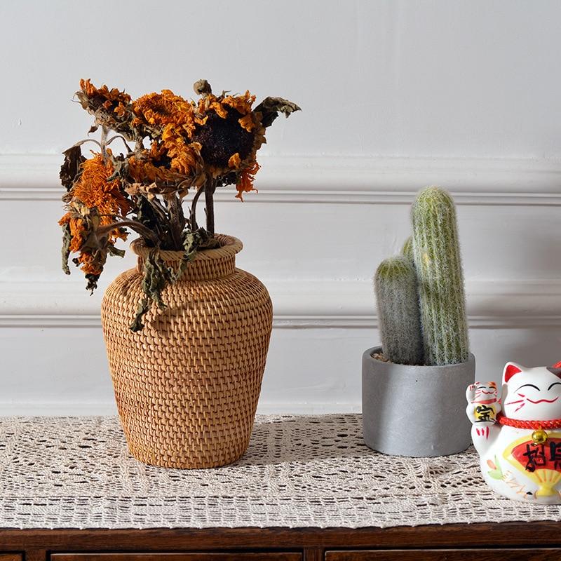 Vietnam Herbst Rattan Gewebt Desktop Lagerung Vase Schießen Requisiten Amerikanischen Möbel Blume Korb