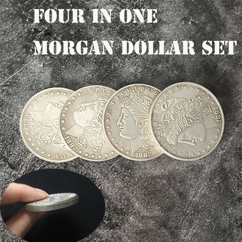 Four in One Morgan Dollar Set Magic Tricks Coin Appear Vanish Magia Magician Accessory Close Up Illusions Prop Gimmick Mentalism недорого