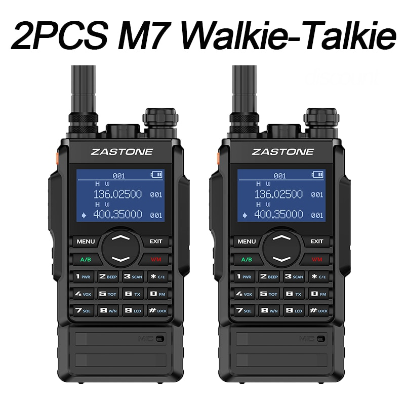 2PCS M7 Zastone Walkie Talkie uhf vhf Two Way Radio 5W Dual band walkie Talkie radio station 220MHZ DIY HM Amateur frequency