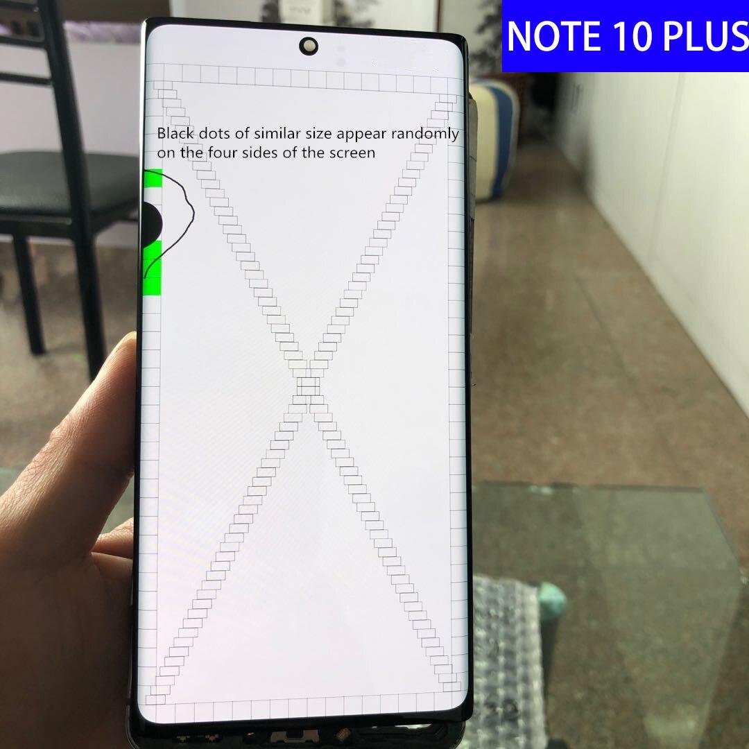 الأصلي نوت 10 + LCD نقطة لسامسونج غالاكسي نوت 10 زائد نوت 10 زائد N975 N975F عرض شاشة تعمل باللمس الجمعية استبدال الإطار