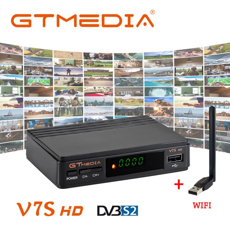 Receptor de TV satelital Freesat V7S DVB-S2 de Alta Definición completa + Receptor de Wifi USB con 1 año 5 Europa Cline CCcam cuenta TV Box