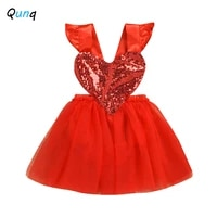 qunq baby girls princess dress lovely heart sequined valentines day dresses for newborns 1 year birthday party infant costume