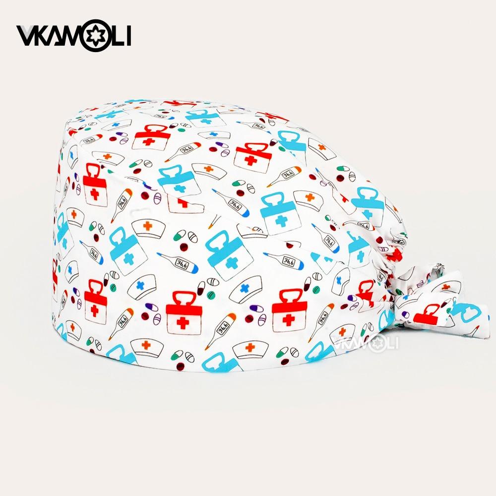 Health pattern printing scrubs caps Dental beauty Nursing cap sweat-absorbent Health service worker