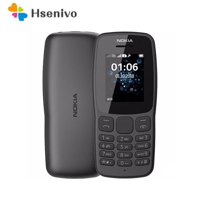 Перейти на Алиэкспресс и купить Восстановленный Nokia 106 (2018)-оригинальный Восстановленный черный телефон Nokia 106 с двумя картами