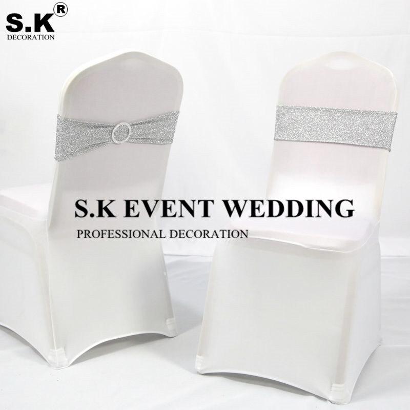 حزام عقال مع الترتر لغطاء الكرسي ، 50 قطعة لكل مجموعة ، مع فيونكة لامعة ، لتزيين حفلات الزفاف والمآدب