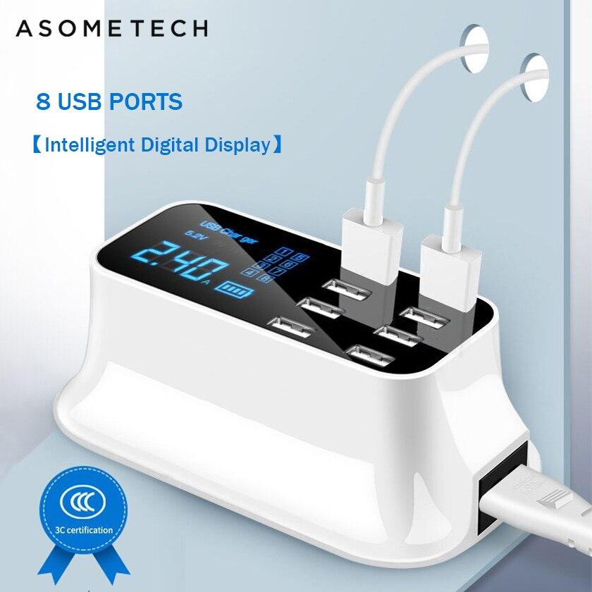 8 портовое Цифровое Зарядное устройство USB с ЖК дисплеем для Android iPhone адаптер планшет мобильный телефон 2.4A быстрое зарядное устройство для xiaomi huawei samsung|Зарядные устройства для телефонов|   | АлиЭкспресс