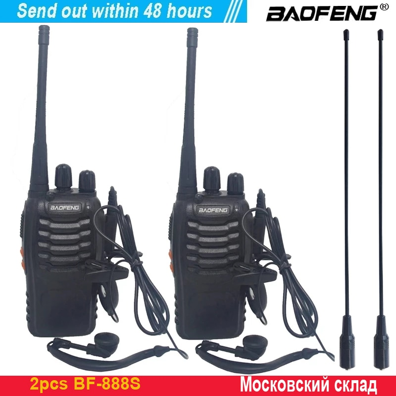 2pcs/lot baofeng BF-888S Walkie talkie Two-way radio set BF 888s UHF 400-470MHz 16CH walkie-talkie Radio Transceiver