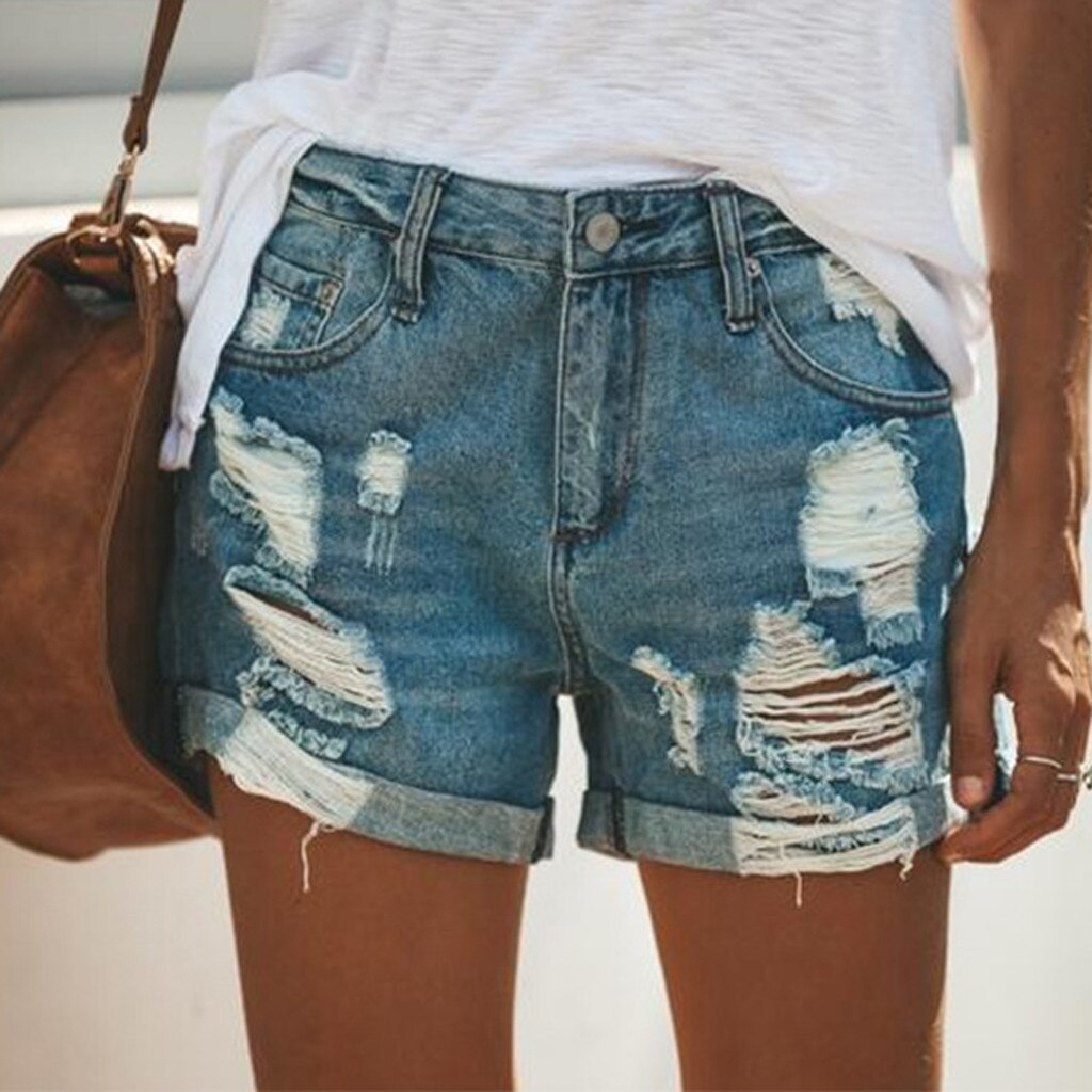 Sexy High Waist Denim Short Jeans Women Summer Hole Ripped Shorts Female Casual Tassel Bottom