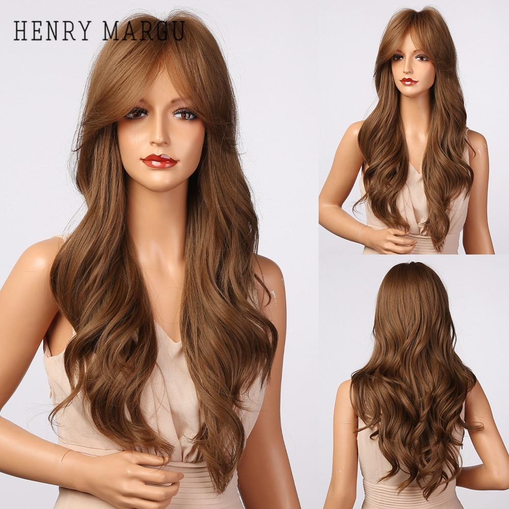 HENRY MARGU Long Wavy Brown Ombre Synthetic Wigs with Bangs Natural Daily Hair Wigs for Women Cosplay Party Wig Heat Resistant