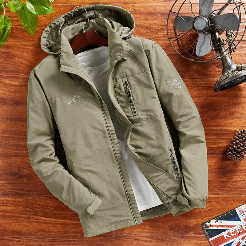 Abrigo a prueba de agua para hombre chaqueta de Otoño de secado rápido chaqueta a prueba de viento abrigo Casual rompevientos chaquetas y abrigos sueltos para hombre M 4XL