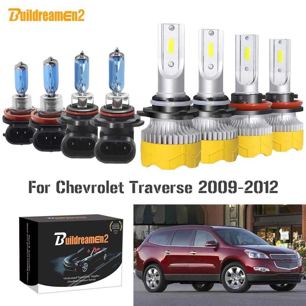 Buildreamen2 4 X Car Headlight High Low Beam H11 9005 LED Halogen Headlamp Bulb 12V For Chevrolet Traverse 2009 2010 2011 2012