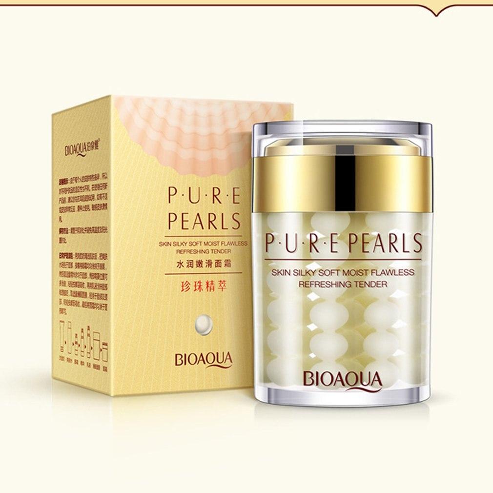BIOAQUA marca Pure perla crema cuidado de la piel ácido hialurónico profunda hidratante Anti arrugas blanqueamiento cuidado facial esencia crema
