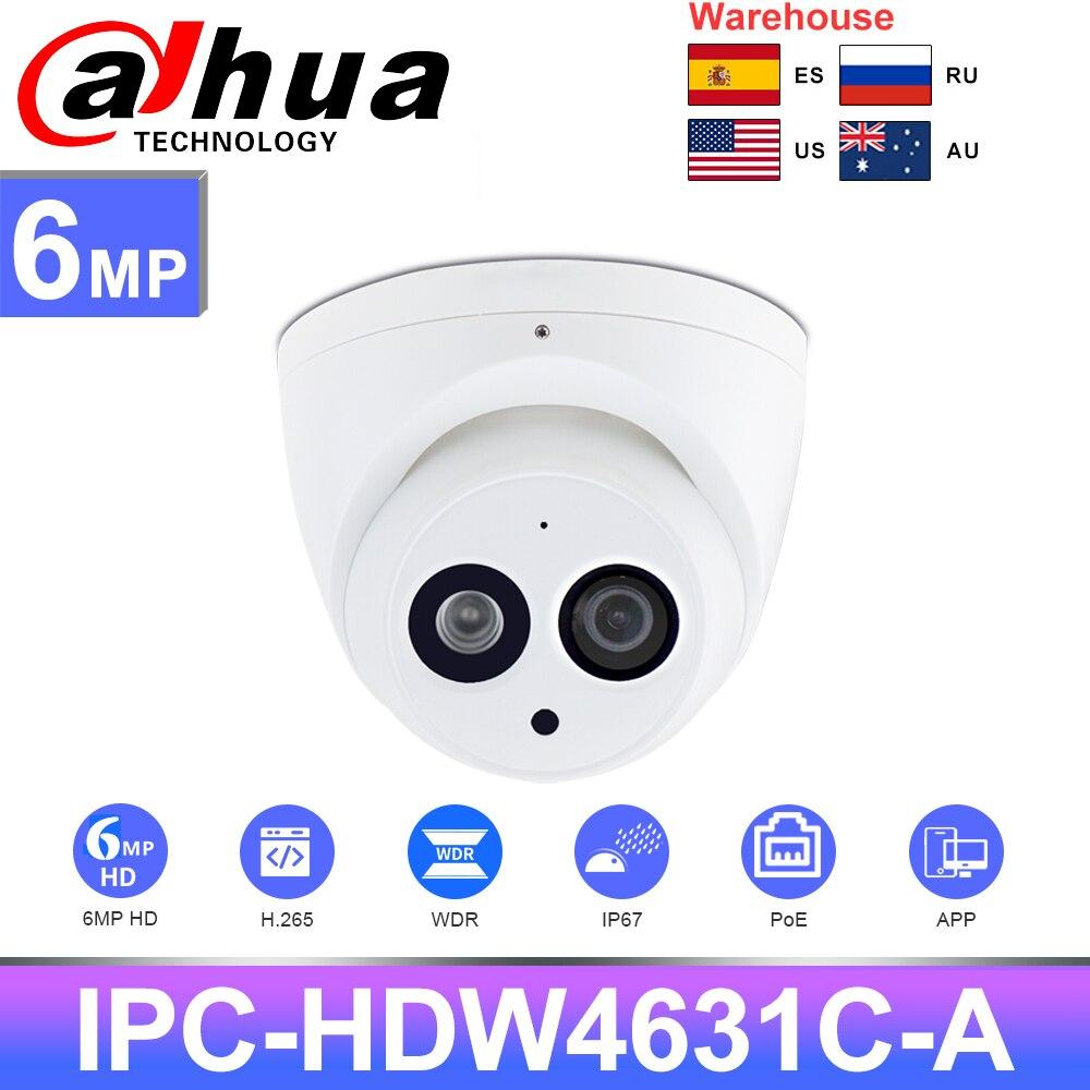 داهوا كاميرا 6MP HD IPC IPC-HDW4631C-A CCTV الأمن مراقبة للرؤية الليلية IR30M H.265 PoE المدمج في هيئة التصنيع العسكري IPC-HDW4433C-A