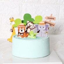 Cakelove 11 sztuk Zoo śliczne leśne wykaszarki do ciastek dla dzieci urodziny dekoracje małpa żyrafa tygrys lew Cupcake wykaszarki narodziny