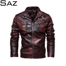 Saz Mens Leather Jackets New Casual Jacket Biker Leather Coats European Windbreaker Leather Jacket