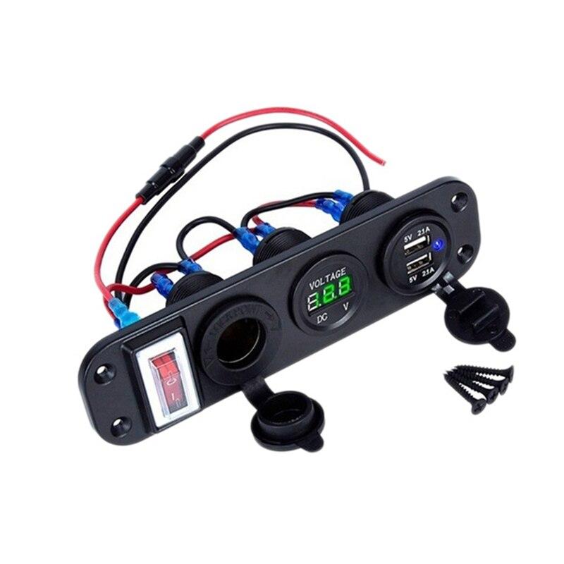 4 em 1 duplo qc3.0 carregador de energia c-igarette isqueiro tomada digital voltímetro com interruptor de balancim & controle bluetooth inteligente