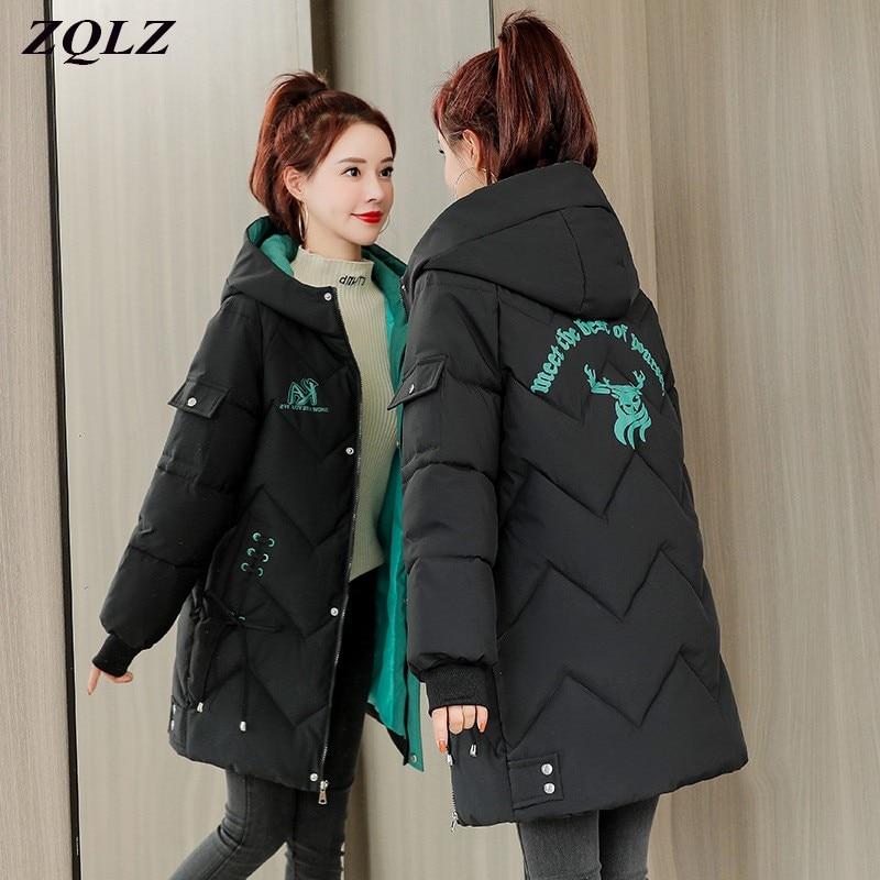 معطف نسائي شتوي ZQLZ مبطن بالقطن ذو قلنسوة طويل غير رسمي معطف نسائي فضفاض مبطن دافئ أسود وردي مقاس كبير معطف نسائي