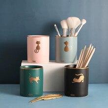 Ceramic Makeup Brush Holder Pen Barrel Eyeliner Storage Jars Eyebrow Pencil Storage Bottle Cosmetics Organizer Makeup Tools
