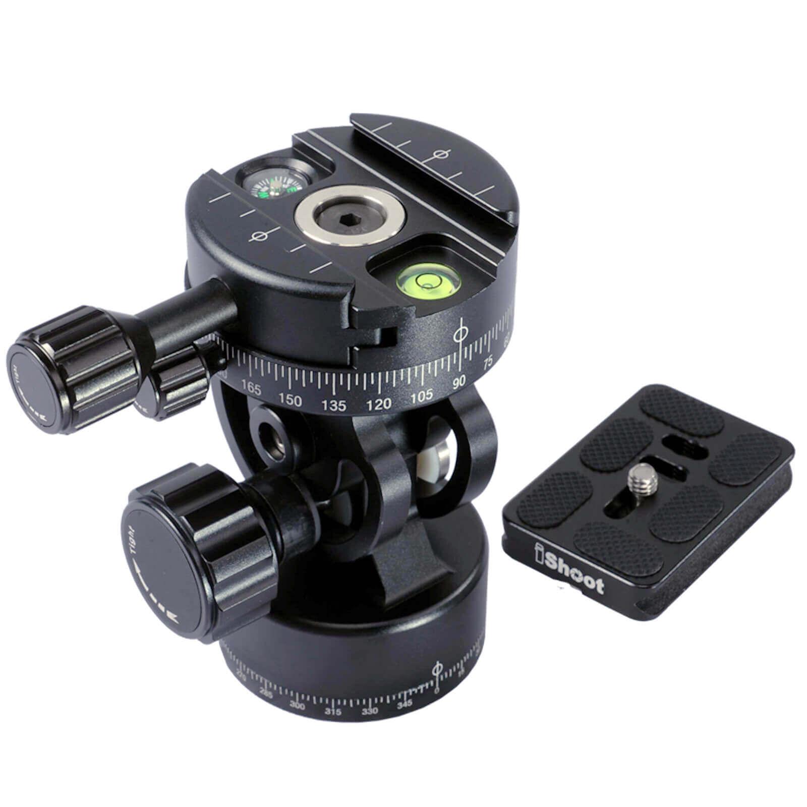 2D 360 Metal Panoramic Panorama Panning Ball Head Ballhead + Camera Quick Release Plate for Tripod -360 Head&Bottom -HOT ITEM