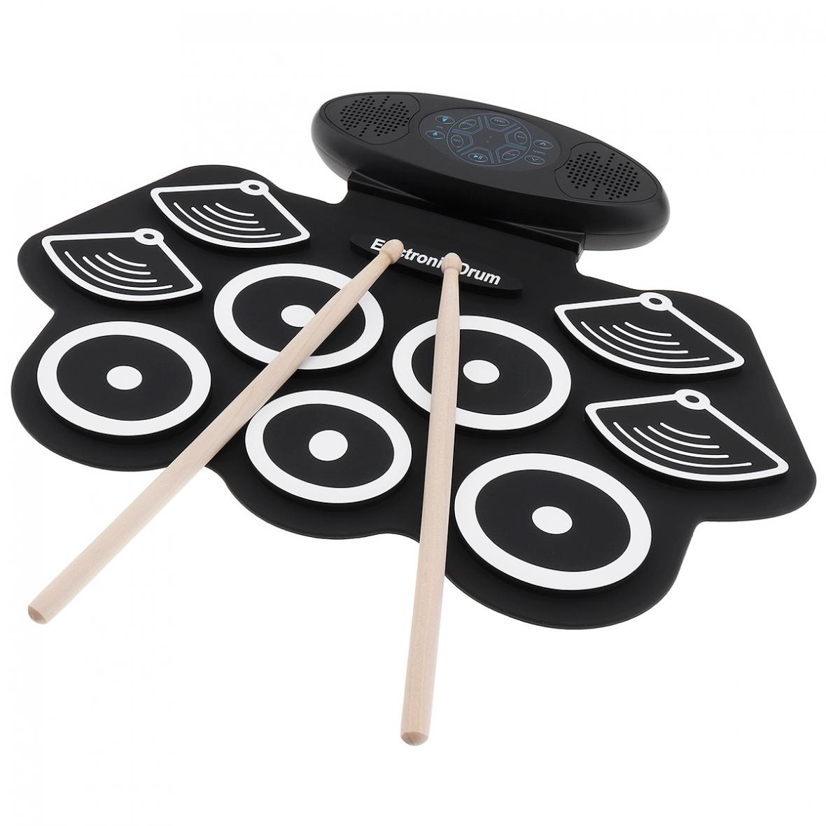9 Pads Electronic Roll up Thicken Silicone Drum Double Speakers Stereo Electric Drum Kit with Drumsticks and Sustain Pedal enlarge