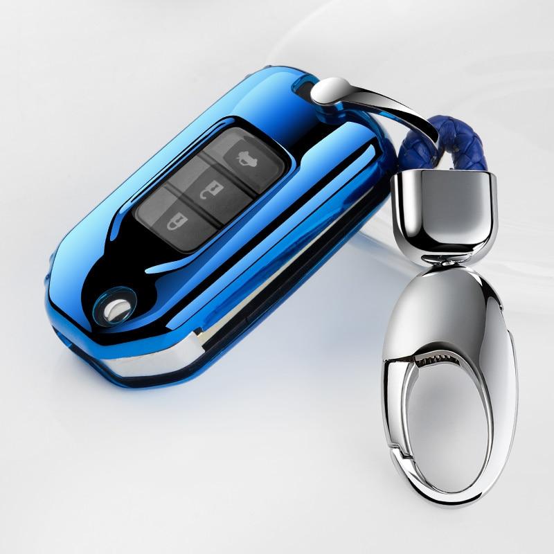 Full Cover New soft TPU Car Key Fob Pocket Case For Honda Civic CR-V HR-V Accord Jade Crider Odyssey 2015-2018 Remote Protector