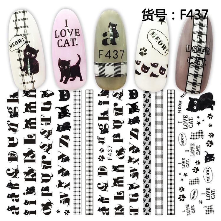3D etiqueta engomada del clavo ABC red gato deslizante decoración para uñas...