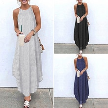 Summer Striped Asymmetric Sundress Women Strap Long Bohemian Dress Платья Женские Dress