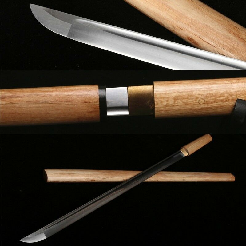 1060 escultura de hoja de acero al carbono hecha a mano espada japonesa KATANA madera de Saya
