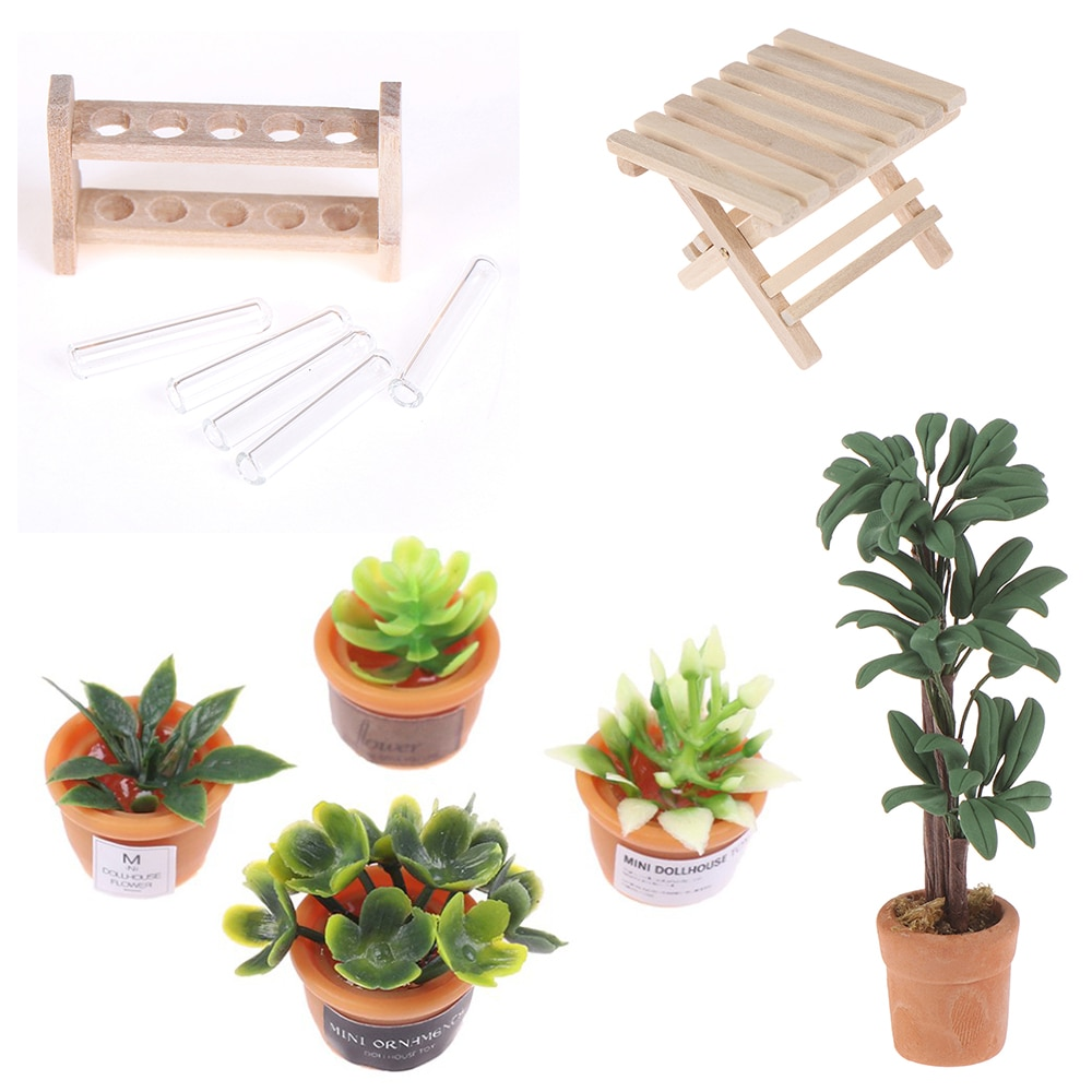 1 12 dollhouse miniature potted plant ceramic pot brasiletto DIY 1:12 Dollhouse Miniature Potted Plant Pot Folding Table Laboratory Glass Test Tubes with Wooden Rack Furniture Toys
