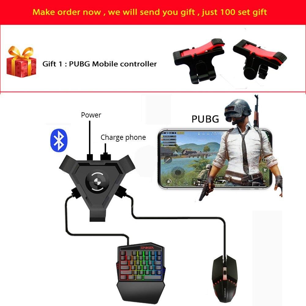 Kuulee pubg móvel gamepad controlador gaming teclado mouse conversor para android ios telefone ipad bluetooth 4.1 adaptador dom gratuito