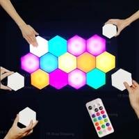 LED RGB USB Quantum Lamp Night Light Panels Modern Quantum Smart Modular Touch Hexagon Wall Lights Colorful Wall Honeycomb Lamp