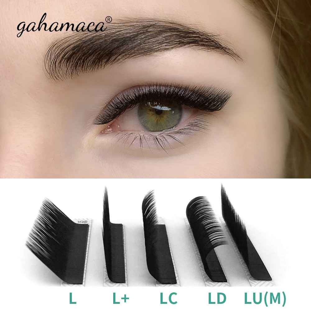 GAHAMACA Eyelash Extension 16rows/case 8~15mm L/L+/LC/LD/LU(M) Mix Premium Natural Individual Makeup Maquiagem Cilios недорого