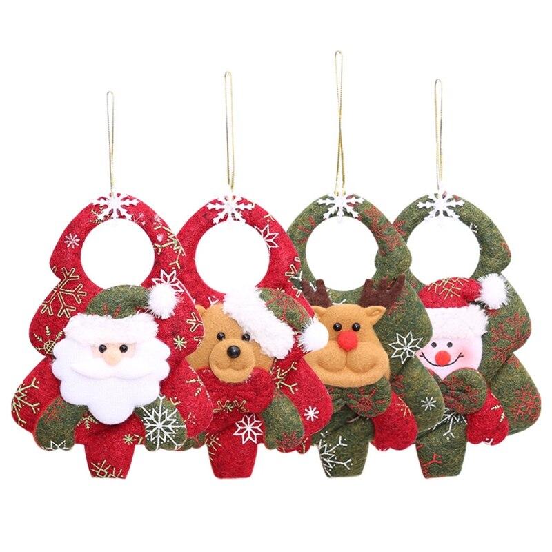 4 pçs/set Decoração de Natal Não-tecido Santa Alce Boneco De Neve Pendurado Da Árvore de natal Pingente 57BB