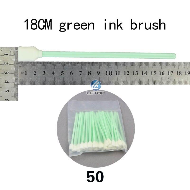 Venda quente solvente cabeça de impressão 18cm 50 peças verde escova tinta limpa algodão cotonetes