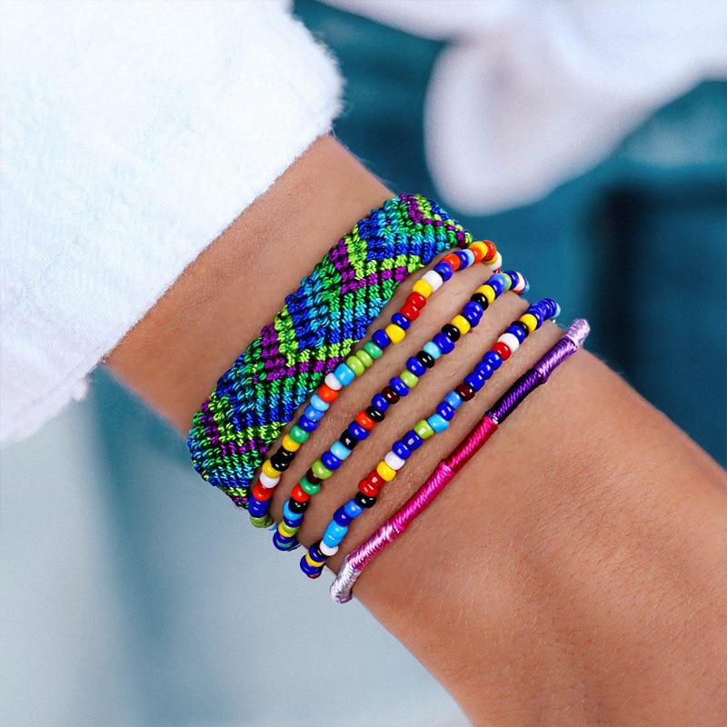 Bohemian 5 PCS Multi-layer Handmade Arrow Suit Bracelet For Women Color Tassel Elastic Beaded Bracelet Jewelry Gifts