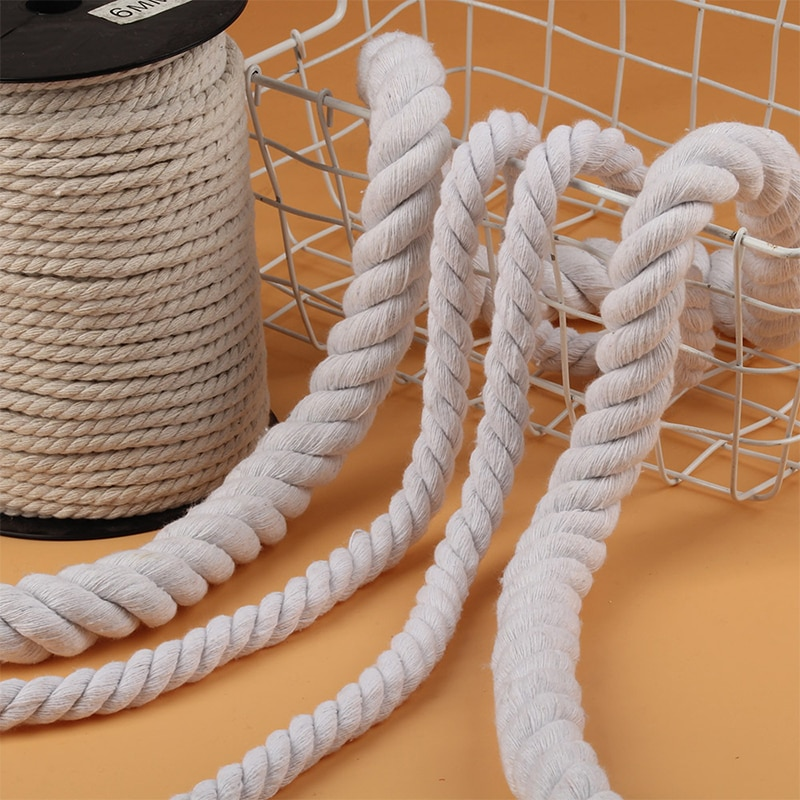 Шнур веревочный из натурального хлопка 5 20 мм бежевый 2 м|Шнуры| |